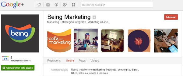Página da Being no Google Plus